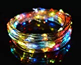 O-Best Color Changing String Lights 33Ft 10M 100 LEDs RGB Flashing Copper Wire