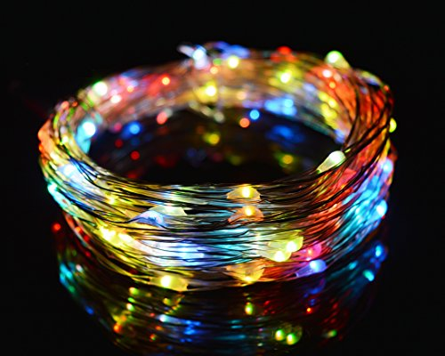 O-Best Color Changing String Lights 33Ft 10M 100 LEDs RGB Flashing Copper Wire Lights Starry LED Rope Lights For Seasonal Decorative Christmas Holiday Wedding with UL Listed Power Adapter - For Free Sign Up Email Offers