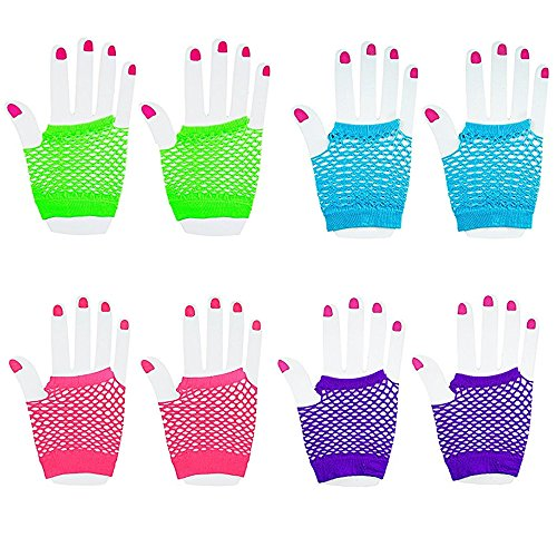 Novelty Place [Neon Gloves] Fingerless Diva Fishnet Wrist Gloves Assorted Neon Colors (12 Pairs)