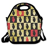 RED GRENADE BLACK GRENADE Insulated Lunch Bag Picnic Lunch Tote For Work, Picnic, Travelling
