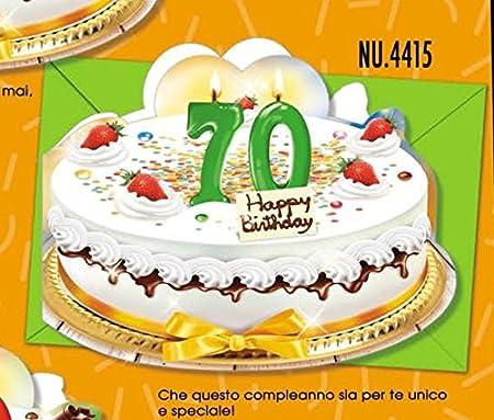 Tarjeta Felicitación cumpleaños 70 años de diseño de tartas ...