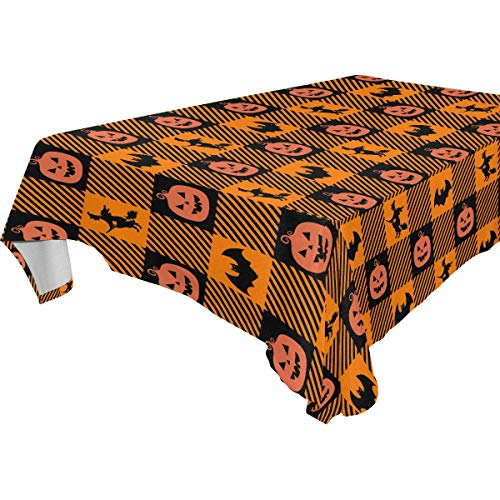 Happy Halloween L (Wamika Happy Halloween Pumpkin Witch Castle Full Moon Square Tablecloth,Owl Trick Or Treat Autumn Rectangle Round Table Linen Cloth Cover 60