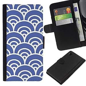 KingStore / Leather Etui en cuir / Sony Xperia Z2 D6502 / Blue Waves Artístico Wallpaper Vintage