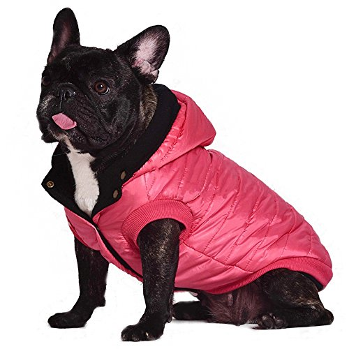 Kuoser outdoor Cotton Thickened Soft Fleece Lining Windproof Dog Vest Pet Winter Coat Warm Dog Apparel for Cold Weather Hoodies Dog Jacket for Small Medium dogs,Red S]()