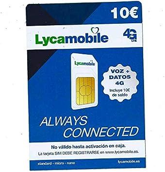 Tarjeta SIM de Lycamobile 5€ + 5 (10€ en Total)   ACTIVACIÓN BIOMÉTRICA (con Selfie + DNI, NIE O Pasaporte): Amazon.es: Electrónica