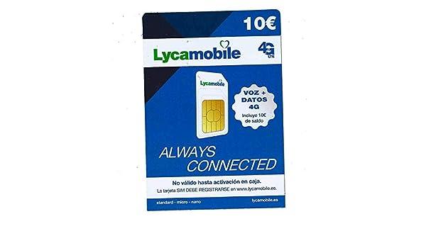 Tarjeta SIM de Lycamobile 5€ + 5 (10€ en Total) | ACTIVACIÓN ...