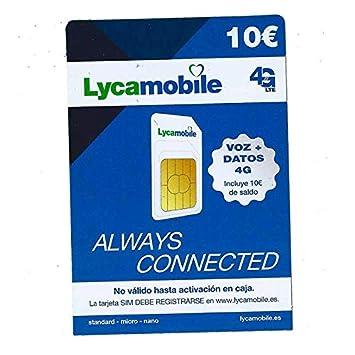 Tarjeta SIM de Lycamobile 5€ + 5€ de saldo (10€ en total ...