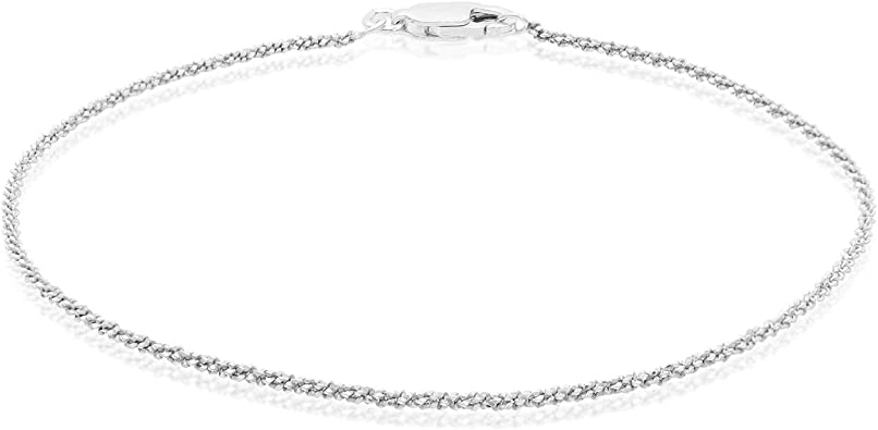 Sterling Silver 2mm Sparkle Rock Chain Adjustable Bracelet for Women Girls