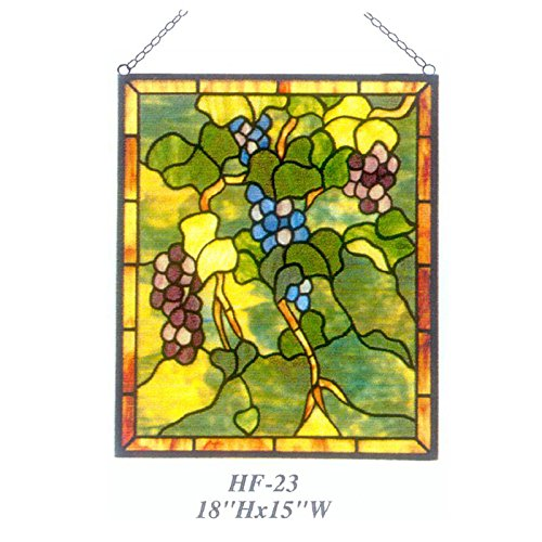 Grapes Window - HF-23 Pastoral Vintage Tiffany Style Handmade Stained Glass Church Art Grapes Window Hanging Glass Panel Suncatcher, 18