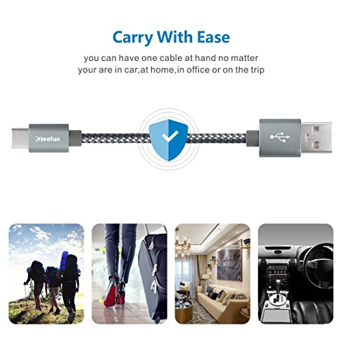 USB C Cable Durable Nylon Brained,[5-Pack, 3Ft 3Ft 6Ft 6Ft 10Ft] Cleefun Fast Charge Type C Charger Cord Charging & Sync For Samsung Galaxy S8 S9 Plus Note 8, Lg V30 V20 G5 G6 Google Pixel Xl(Gray) by Cleefun (Image #8)