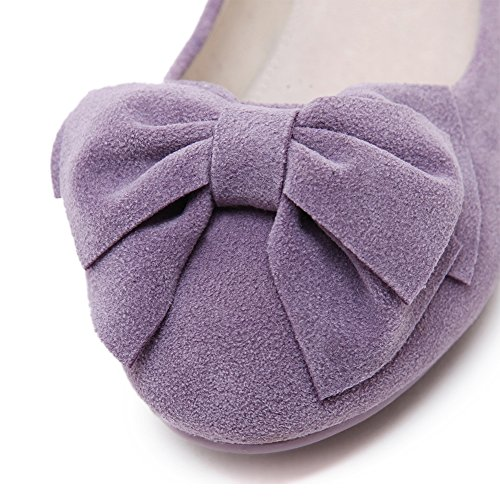 Eclimb Bowknot Mujeres Punta Redonda Colorido Slip-on Casual Pisos Mocasines Zapatos Púrpura