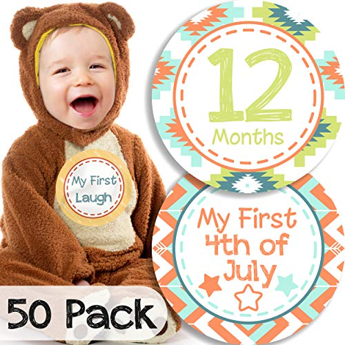50 Pack Monthly Baby Milestone Stickers for Boys: Week, Month, Holiday Milestones