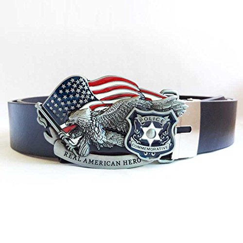 Buckes - American Hero Belt Buckle Western Flag Design Zinc Alloy Material with Good Plating Included Black Belts Drop Shipping