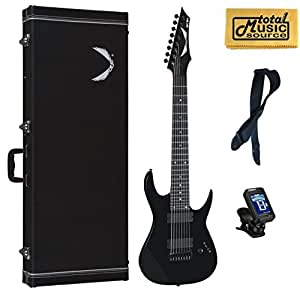 dean rusty cooley 8 string black electric guitar free case strap tuner cloth. Black Bedroom Furniture Sets. Home Design Ideas