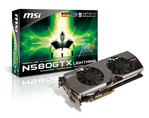 Photo - MSI nVidia GeForce GTX580 1536 MB DDR5 2DVI/HDMI/DisplayPort PCI-Express Video Card N580GTX LIGHTNING