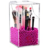 makeup vanity ideas Clear Cosmetic Brush Organizer,Acrylic Brush Holder with Lid,Dust-proof Makeup Brush Holder with Free Rosy Pearls for Vanity Counter-top - NEWCREA
