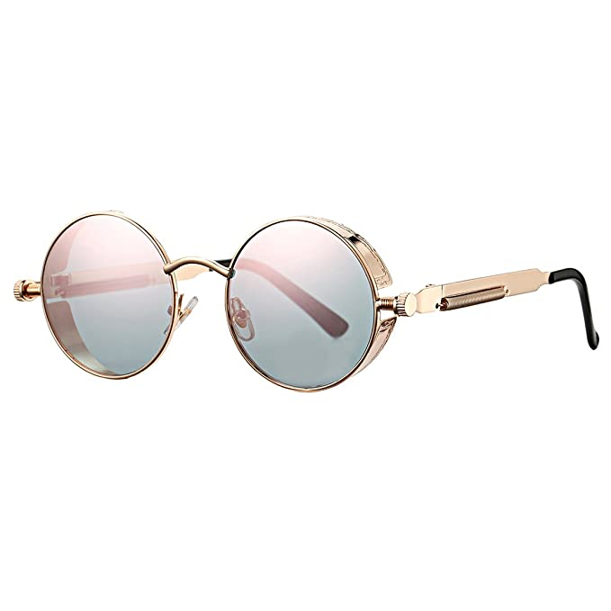 70e56fb69d COASION Retro Small Round Circle Steampunk Gothic Sunglasses for Men Women Metal  Frame (Rose Gold
