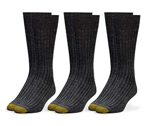 (Gold Toes Mens Premium Dress Trouser Work Multi Pack Socks (Wool Rib Crew 3 Pack - Charcoal - Shoe Size 6-12.5))