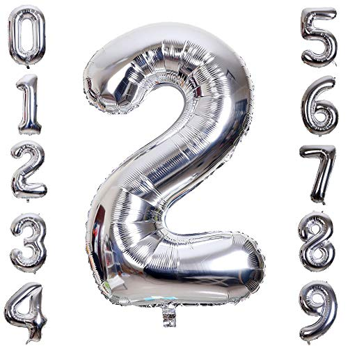 Hotshots2019 40 Inch Large Silver Balloon Number 2 Balloon Helium Foil Mylar Balloons Party Festival Decorations Birthday Anniversary Party Supplies