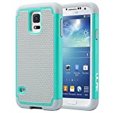 "Galaxy S5 Case, ULAK Knox Armor Slim Hybrid Shockproof Silicone Rugged Hard Plastic Case Protective Cover Shell For Samsung Galaxy S5 S V I9600 (5.1"" inch) 2014 Release - Mint Green+Gray"