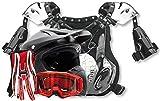 Adult Offroad Helmet Goggles Gloves Chest Protector GEAR COMBO Motocross ATV Dirt Bike Red MATTE BLACK ( Medium )