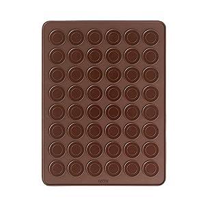 Lékué 0231440M02M067 Mat pour Macaron Silicone Marron 40 x 30 cm
