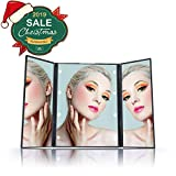 tri fold makeup mirror with lights Tri-fold Portable Lighted Makeup Mirror with 8 Lights Small Size Folding Cosmetic Mirrors Batteries Included
