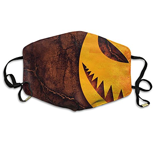Girls Face Mask Anti-Dust Respirator Gift Pumpkin for Halloween Scary Night Wooden Background.jpg