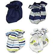 Gerber Baby-Boys Newborn 4 Pack Mittens Sports, Blue, 0-3 Months