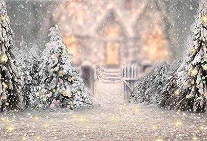 Waw Fotohintergrund Winter Schneefall Wald Warmes Haus Kamera