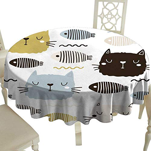 (Fabric Dust-Proof Table Cover Seamless childish pattern with cute cat face and fish Creative nursery background Perfect for kids design fabric wrapping wallpaper textile apparel for Kitchen Dinning T)