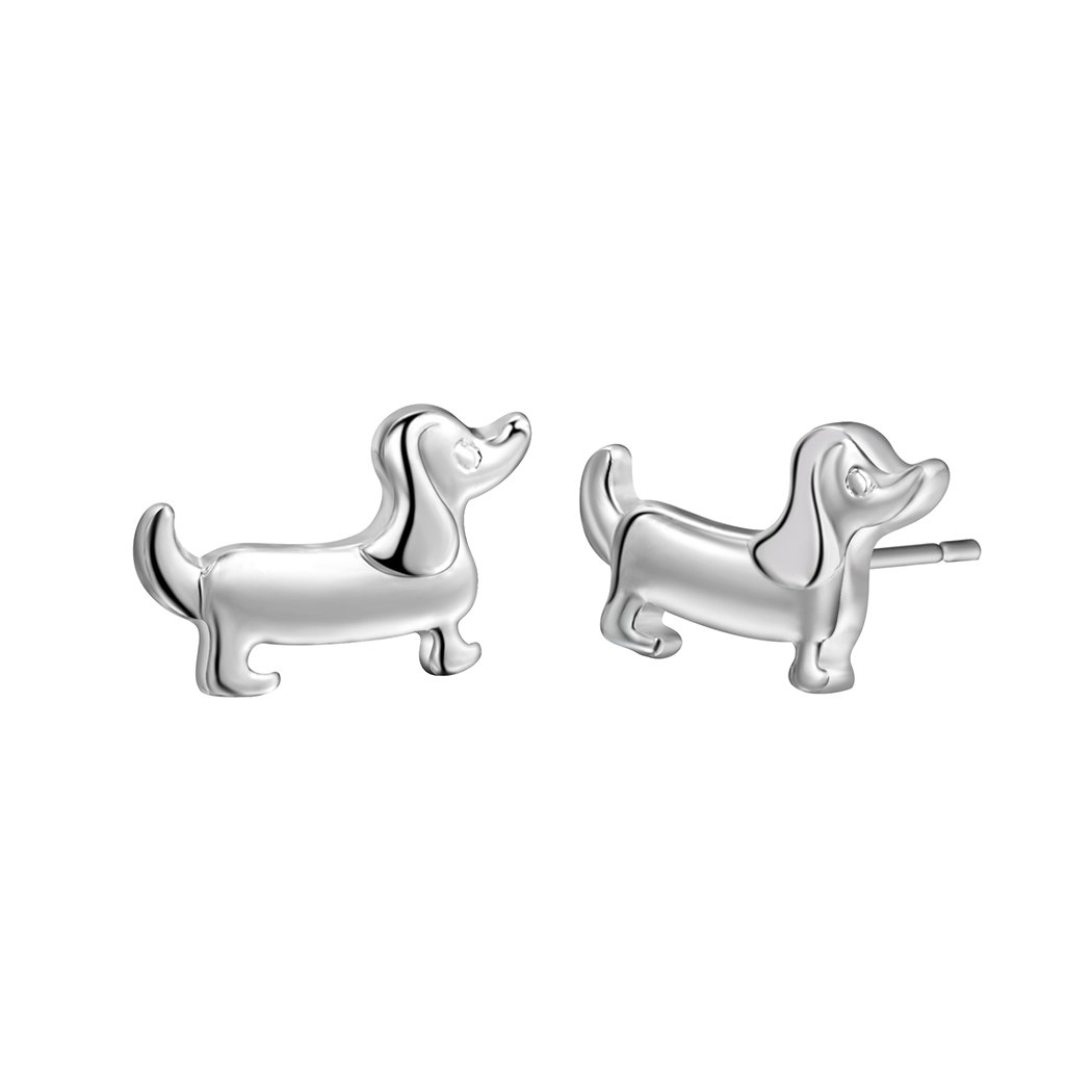 Qiandi Silver Plated Dachshund Sausage Dog Animal Stud Earrings Women Christmas Pet Lover Gift OKNH0072