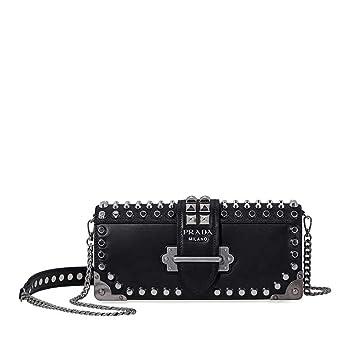 c4380a810ddc Amazon.com  Prada Women s Studded Cahier Leather Clutch Black ...