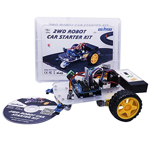 OSOYOO 2WD Robot Car Starter Kit with UNO R3, with Tutorial DVD, Line Tracking Sensors, Bluetooth Module and IR Modules, Toy for Arduino DIY (Handheld Learning Remote)