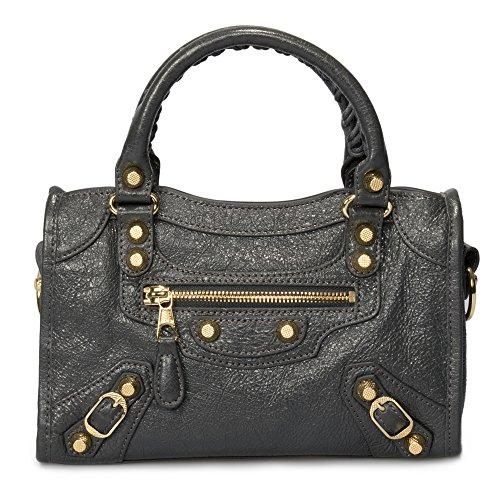Bag City Hardware (Balenciaga Classic Mini City Bag   Fossil Gray with Gold Hardware)