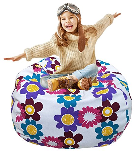 Kid's Stuffed Animal Storage Bean Bag Chair with Extra Long Zipper, Carrying Handle, Large Size at 38