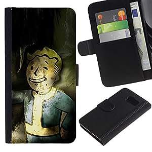 YiPhone /// Tirón de la caja Cartera de cuero con ranuras para tarjetas - Vintage Retro Bóveda Boy Grunge - Sony Xperia Z3 Compact