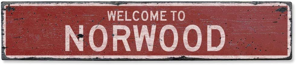 NOT BRANDED Welcome to Norwood Vintage US Norwood, Massachusetts Distressed Custom Wooden City Sign Home Decor Wood Plaque Gift for Women