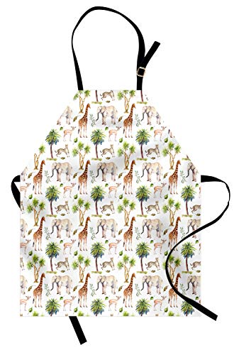 Ambesonne Watercolor Elephant Apron, Wild Animals Giraffe Cheetah Antelope Savannah Palm Trees Safari Tropic, Unisex Kitchen Bib Apron with Adjustable Neck for Cooking Baking Gardening, -