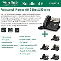 Yealink SIP-T23G, 3 Lines HD Professional VoIP Phone, 3SIP Accts, 3way conf., dual port Gigabit, PoE, BUNDLE of 6