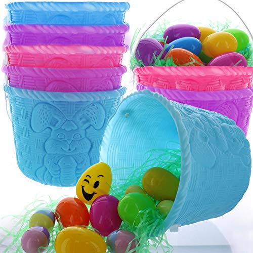 GIFTEXPRESS Pack of 12, Plastic Easter Baskets for Kids, Easter Egg Baskets for Easter Egg Hunts/Easter Stuffers and Easter Decolations (12)]()
