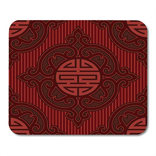 (Semtomn Gaming Mouse Pad Chinese Vector Oriental Seamless Tile Pattern Wallpaper Background Asian Korean 9.5