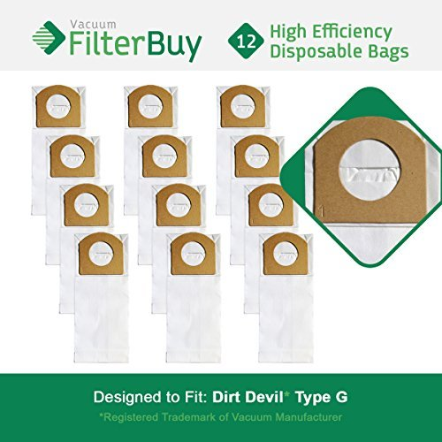 12 - FilterBuy Dirt Devil Type G Compatible Vacuum Bags, Part # 3010348001. Designed by FilterBuy to replace Dirt Devil Type G Vacuum Bags. LEPAC7441