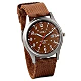 Jewelrywe Men's Coffee Dial Nylon Strap Quartz Wrist Watch Night Vision