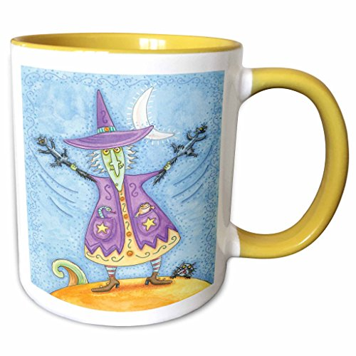 3dRose Anne Marie Baugh - Halloween - Halloween Witch With Screeching Cat In Each Hand Illustration - 15oz Two-Tone Yellow Mug (mug_216762_13)]()