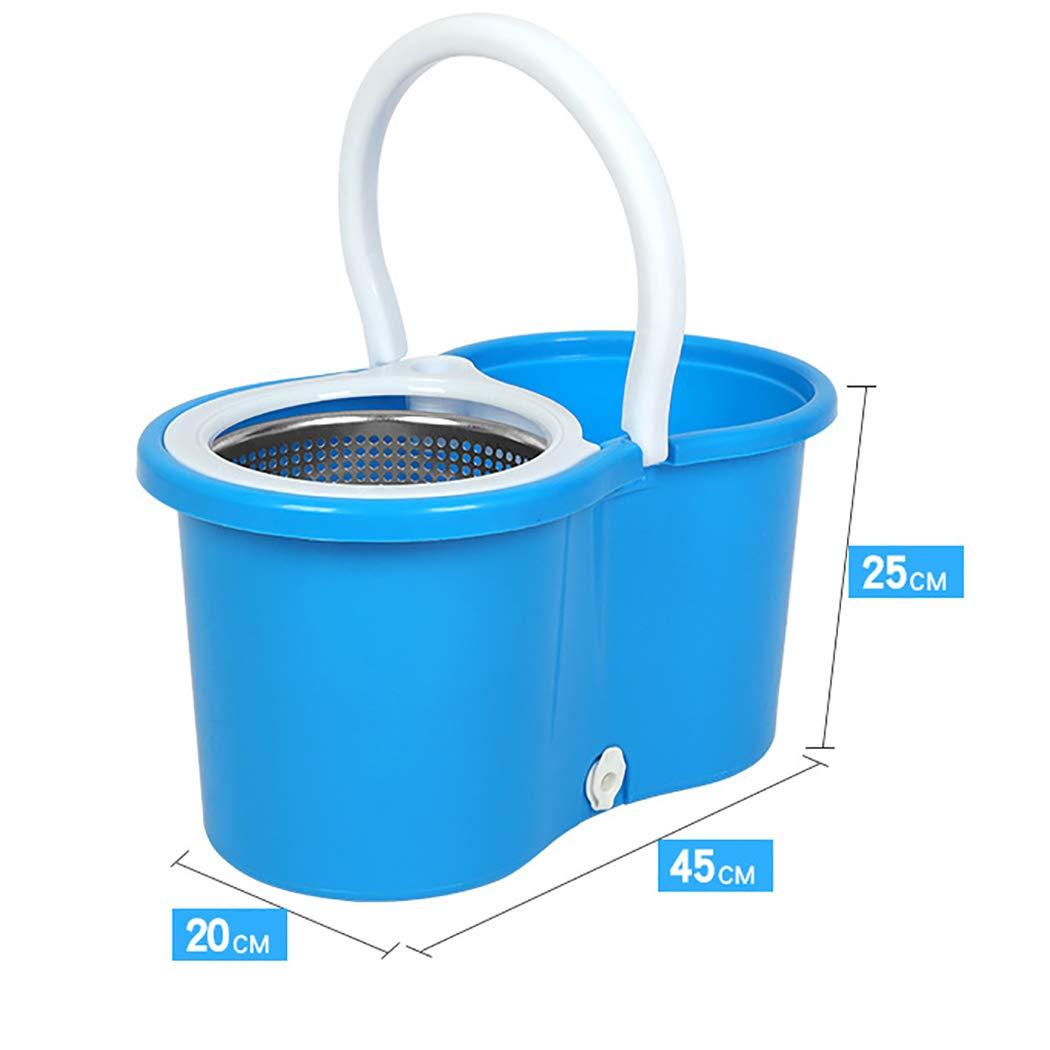 Aifulai Einfache Wring und saubere Mikrofaser Mopp und und und Eimer mit Power Spin Wringer Stahl Blau + Edelstahlstange + Edelstahlplatte + 2 3 4 6 Mikrofaser Moppkopf (Farbe   Blau, Design   4 mop Heads) B07K8KY9T9 Schaufel & Besen Sets 0ccfaa