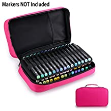 BTSKY Art Marker Carrying Case Lipstick Organizer-60 Slots Canvas Zippered Markers Storage for Copic Prismacolor Touch Spectrum Noir Paint Sharpie Markers, Empty Wallet Only (Red)