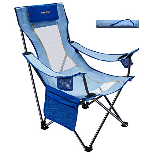 WEJOY Comfortable 16.9 High Seat Folding Camping Beach Sling Chair with Pillow Cup Holder Pocket Mesh Back for Outdoor Lawn Sports, Carry Bag Included