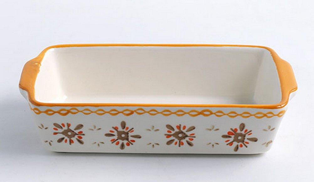 Spicy Meow Rectangle Keramik Bakeware K/üche Kochgeschirr Cupcake Pfannen Creme Gelbe Blumen