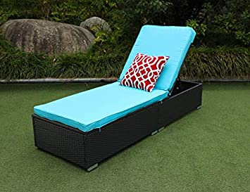 Do4U 3 Pcs Outdoor Chaise Lounge – Easy to Assemble – Thick Comfy Cushion Wicker Lounge Chairs Include 1 Table and 2 Chaise Lounge- Exp Rattan with Turquoise Cushion EXP-7223